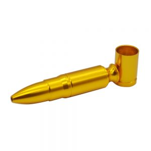Metal Gold Bullet pipe Pocket Size design Includes 5 stainless steel screen filters and organza gift storage bag
